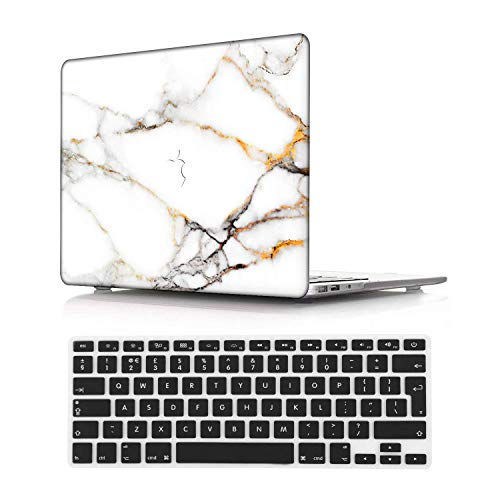 NEWCENT New MacBook Pro 15' Case,Plastic Ultra Slim Light Hard Case UK Keyboard Cover for Mac Pro 15 with Touch Bar 2016-2018 Release (Model:A1707/A1990),Marble A 353