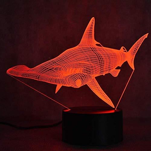 Luz de noche ilusión 3D 7 colores LED visión mesa decoración USB accesorio de tiburón cabecera dormir colorido regalo creativo Control remoto