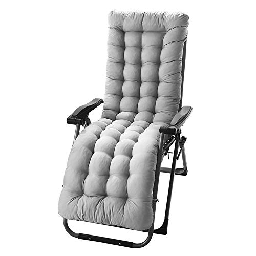 bellizimo Sun Lounger Cushions Garden Furniture Cushions Portable Garden Patio Thick Padded Bed Recliner Relaxer Chair Seat for Travel Holiday Indoor Outdoor (Grey)