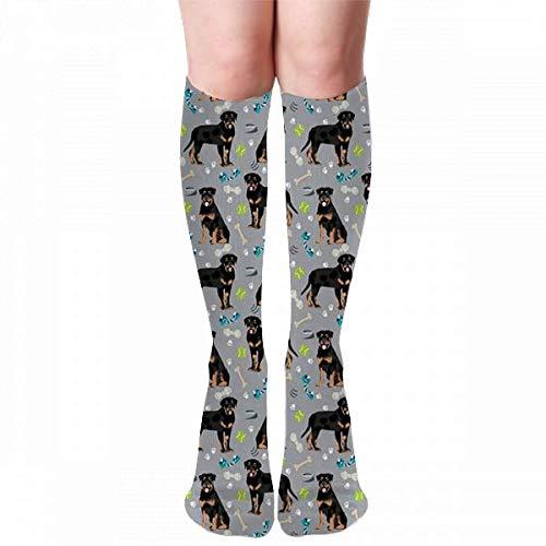 hgdfhfgd Tela de perros rottweiler - perros y juguetes - blue_3629 Novedad Moda Calcetines hasta la rodilla Medias Medias Calcetines al aire libre