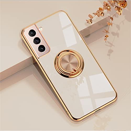 EYZUTAK - Custodia per anello magnetico elettrolitico a 360 gradi, con rotazione in metallo, supporto magnetico per auto, in morbido silicone, antiurto, per Samsung Galaxy S21, colore: Rosa chiaro