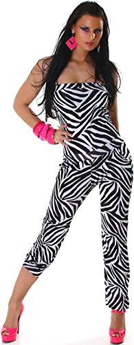 Jela London Damen Neckholder Overall Onesie Jumpsuit, Einheitsgröße 34 36 38 Schwarz-Weiß Streifen Zebra