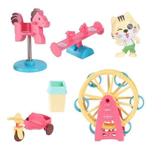 Toyvian Stadt Spielen Spielzeug Set Kinder So Tun Als Ob Spielset So Tun Als Ob Vergnügungspark Spielzeug Riesenrad Wippe Schaukel Rutsche Spielzeug Pädagogische Eltern-Kind-Spielzeug für