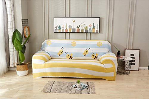 SDFWEWQ Funda de Sofá Elástica 1 2 3 4 Plazas Suave Cómoda Antideslizante Lavable en Lavadora Impreso Fundas para Sofa,Decorativas Fundas de Sofa para Sala de Estar (3 Plazas 190-230 cm,Amarillo)