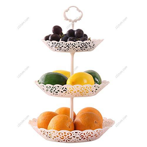 Warmiehomy 3 Stöckig Obstkorb Abnehmbar Obstschale Modern Obstetagere Dekorativ Snackkorb Groß Dessert Obstkuchen Tablett für Wohnzimmer Küche Hochzeit Office,Weiß,25.5 X 40CM
