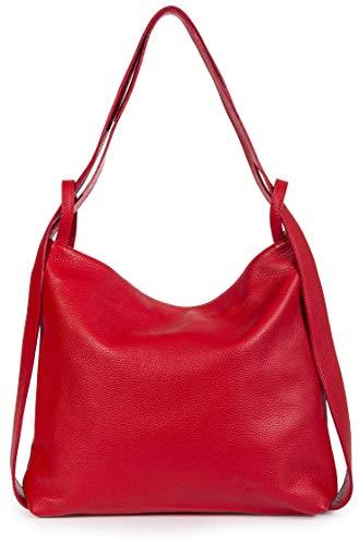 LIATALIA Nicole Damen Schulter-Rucksack – vielseitig verwendbar, weiches italienisches Leder – zwei in einem Rucksack, Rot (rot), Einheitsgröße