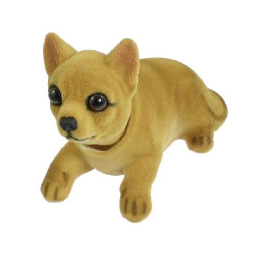 sourcing map Cabeza Oscilante Chihuahua Perro Forma Ornamento para Coche 14cm