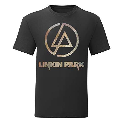 LaMAGLIERIA Camiseta Hombre Linkin Park - Rust Texture Camiseta 100% algodòn, S, Negro