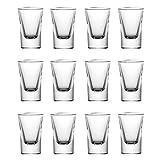 mixed24 12er Set Schnapsgläser 2cl 4cl 20ml 40ml Shotgläser Pinnchen Shots Tequila Glas Vodka Gin Schnaps Likör