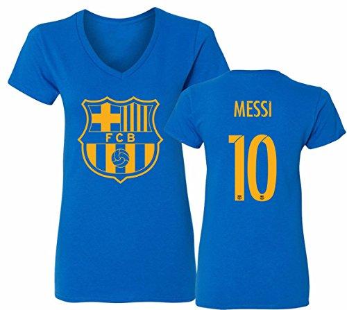 Barcelona Soccer Shirt Lionel Messi #10 Futbol Jersey Womens V-Neck T-Shirt