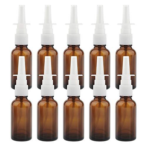 10 Stück Leere Glas Nasenspray-Flasche 30ml mit Fingerzerstäuber, Nasenzerstäuber Vaporizer Nasensprühflasche - Braun