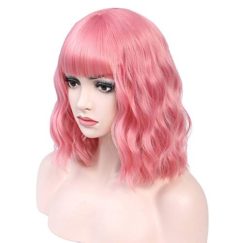 Pastel Wavy Wig With Air Bangs Women's Short Bob Pink Wig Curly Wavy Shoulder Length Pastel Bob Synthetic Cosplay Wig for Girl Colorful Costume Wigs(Pink)