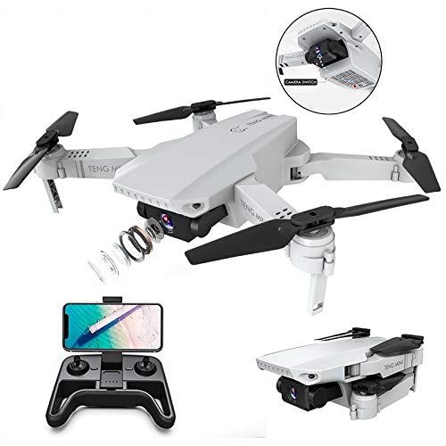 3T6B Drohne mit 4K HD Kamera, optischer Flusspositionierung mit Zwei Kameras, Höhenlage, Headless Modus, Pfadflug, Gestenfoto, Faltbarer WiFi FPV Quadcopter, für Anfänger, Weiß