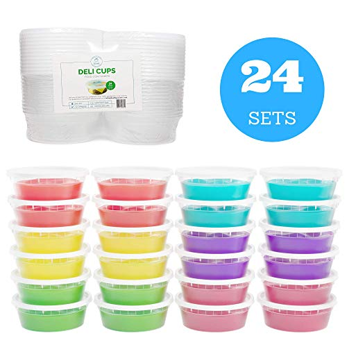 Slime Containers with Airtight Lids (8 oz, 24 Pack) - Clear Plastic Food Storage Jars - Great for Your Slime Kit - BPA Free| Leakproof - Microwaveable - Reusable - Dishwasher & Freezer Safe