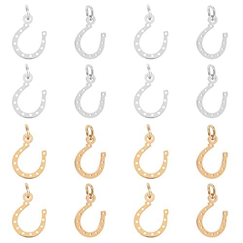 UNICRAFTALE Ciondoli Animali 16pz 2 Colori,Ciondoli in Metallo A Forma di Ferro di Cavallo in Acciaio Inossidabile per Orecchini e Ciondoli per Collana e Fai da Te,Oro & Colore Acciaio Inossidabile