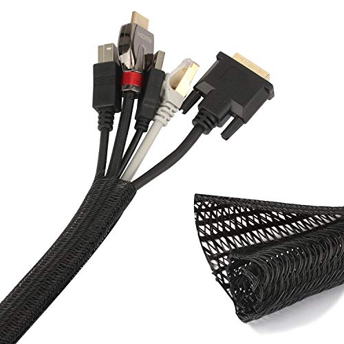 MutecPower 2.5cm / 3.5m FUNDA DE CABLES divisible para la gestión de cables, organizador y protección de cables frente a la mordedura de gatos-Tubo de telar de cables para TV, PC, teatro, coche NEGRO