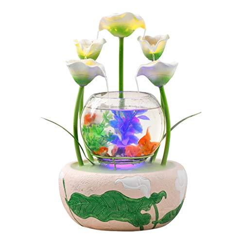 zxb-shop Fuente Interiores Forma de decoración de Interiores Fuente de Flor de la Cala Cascada de Agua y el Acuario de Cristal Cubierta decoración del hogar humidificador Fuente Escritorio