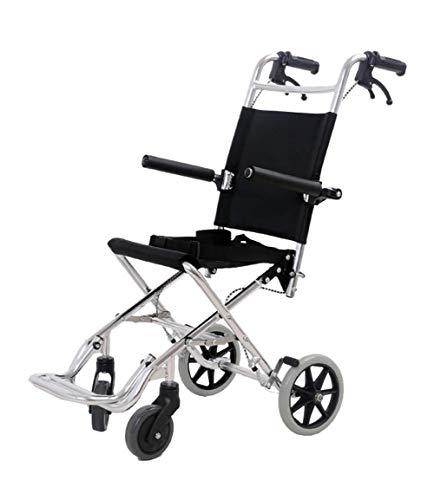 KILLM Leichte faltbaren Rollstuhl, Aluminiumlegierung selbstfahrenden Mobil Hilfe beweglicher Transit Travel Chair,Schwarz