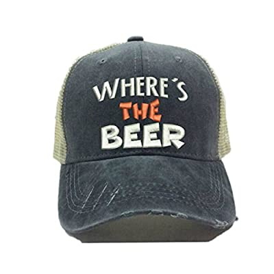 "Men Or Womens Trucker Hat Distressed Funny Party""Where's The Beer"" Baseball Cap"