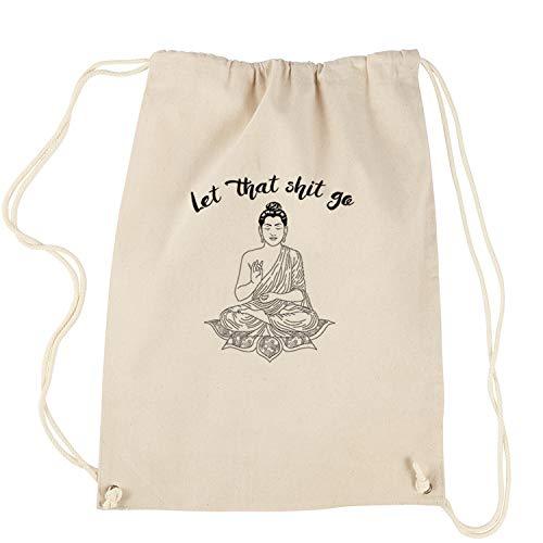 Backpack (Black Print) Let That Sh-t Go Buddha Natural Drawstring Backpack