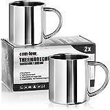 com-four® 2x Tazza da Caffè in Acciaio Inossidabile - 300 ml/Tazza - Tazza Termica in Acciaio Inox - Tazza da Viaggio a Prova di Rottura - Senza BPA (300ml)