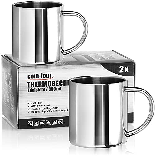 com-four® Taza de café de acero inoxidable - Taza de café - Taza termo-bebedora hecha de acero inoxidable - Taza con aislamiento de doble pared - SIN BPA (300ml)
