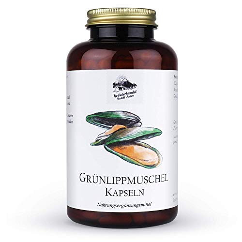 KRÄUTERHANDEL SANKT ANTON® - Grünlippmuschel Kapseln - 100{a169f0e823bf25ee05ab2d6991c27a45e92b46e908d460deafca6c52d8064942} Grünlippmuschelpulver aus Neuseeland - mit Glycosaminoglykane - Deutsche Premium Qualität (300 Kapseln)