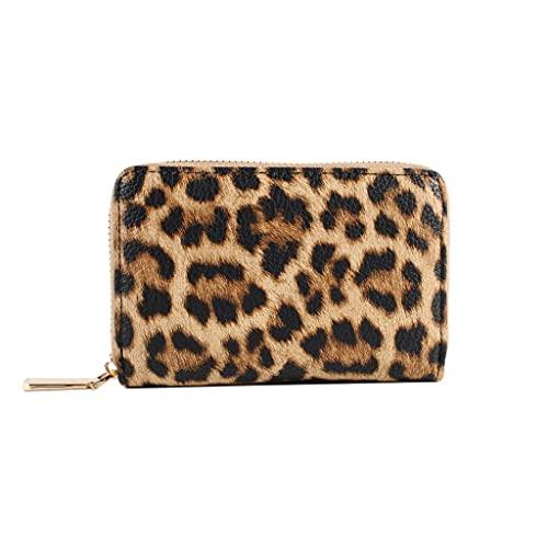 Cartera de Mujer con Estampado Animal Monedero de Moda con Cremallera, Monedero Organizador de Tarjetero de Gran Capacidad (Color : Leopard Print, tamaño : Small)