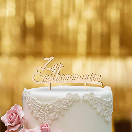 Dankeskarte.com Cake Topper Zur Erstkommunion - für die Torte zur Kommunion - Buchenholz - XL - Tortenaufsatz, Kuchen, Tortendeko, Tortenstecker, Kuchanaufsatz, Kuchendeko