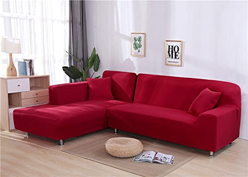 WXQY Funda Protectora de sofá de Esquina en Forma de L de Color sólido para Sala de Estar Funda de sofá elástica Funda Protectora de sofá Antideslizante A28 1 Plaza
