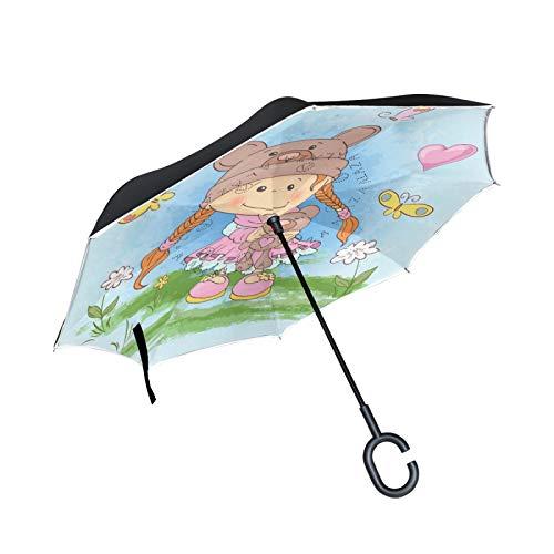 Linda Chica Osos Juguete Paraguas Invertido Doble Capa Inverso Reverso con Mango en Forma de C Paraguas de Plegado para Automóviles en Exteriores