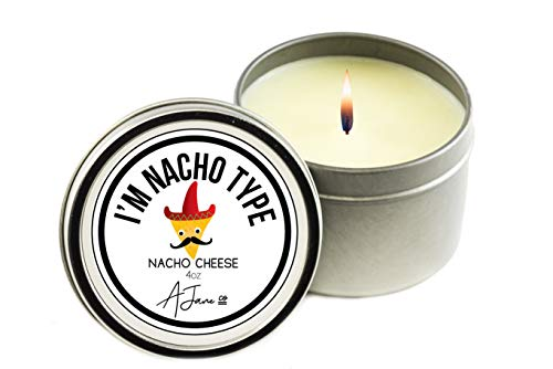 Novelty Collection All Natural Scented Candle–Clean burning and HARMLESS to health, pure Coconut soy wax, aromatherapy candle, best gift with 100% recyclable packaging-Nacho Cheese by AJane Co