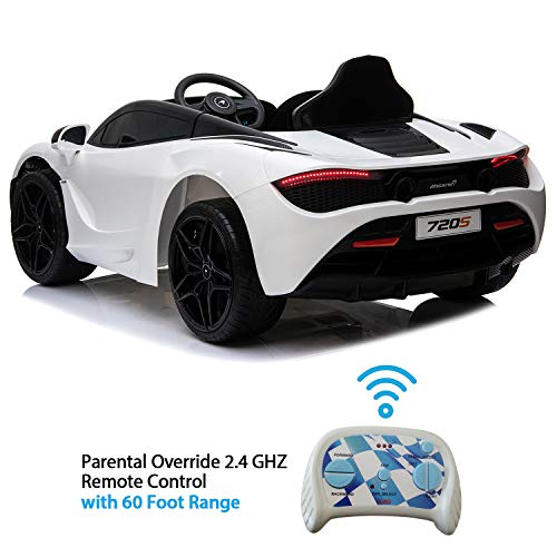 Licensed Mclaren 720S 12V Ride On Car w/ Remote Control for Kids, Leather Seat, Butterfly Doors, Bluetooth, MP3, USB, Suspension and LED Lights -White