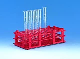 BRAND - Test tube rack- red- 55 tubes to dia.18mm- 5x11 , PK5