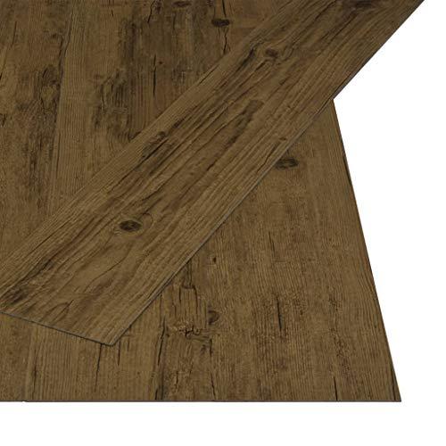 vidaXL PVC Laminat Dielen Selbstklebend Rutschfest Vinylboden Vinyl Boden Bodenbelag Fußboden Designboden Dielenboden Landhausdiele 4,46m² 3mm Naturbraun