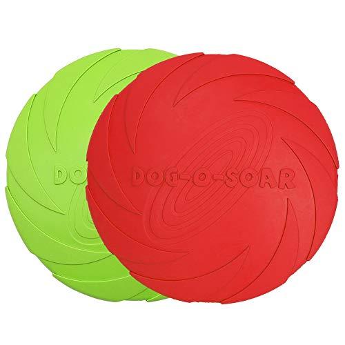 Vivifying Hundefrisbee, 2 Stück 18cm Hunde-Frisbee aus Natürlichem Kautschuk für Land und Wasser (Grün + Rot)
