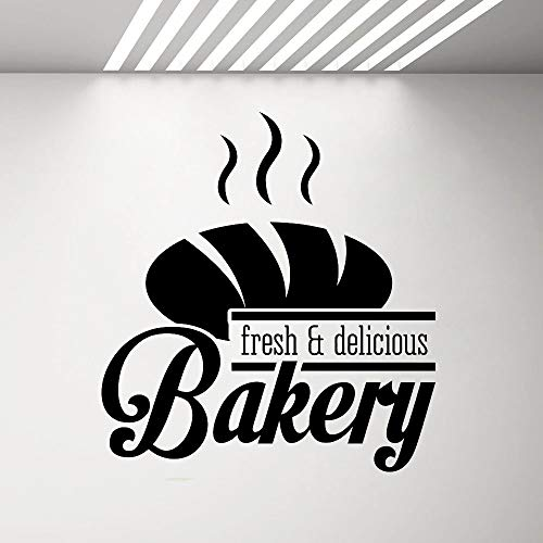 PMSMT Bäckerei Shop Logo Wandaufkleber Bakeshop Küche Cafe Vinyl Aufkleber Home Room Interior Decoration Frisches & Leckeres Brot G675