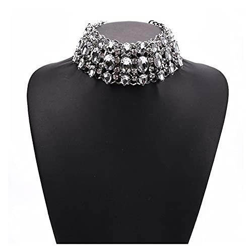 SFQRYP 2021 Declaración Chokers Collares Mujeres Grande Cuello Gran Gargantilla Collar Femme Joyería India Perla Collar de Cristal para Mujer (Metal Color : Clear)