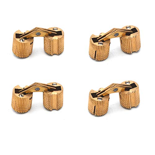 Antrader 4-Pack 10mm Brass Barrel Hinges Cylindrical Hidden Cabinet Concealed Invisible Furniture Hinges Mount 180 Degree Opening Angle
