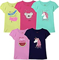 Real Basics Girls Tshirt/Top, Pack of 5 Cotton, Regular Fit, Multicolour