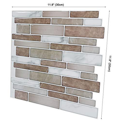 Art3d 10-Sheet Premium Stick On Kitchen Backsplash Tiles, 12