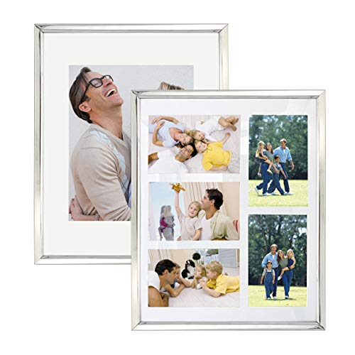 11x14 Set of 2 Silver Metal Picture Frame , Each Frame with 2 Mats,Display 8x10 or Five 4x6 Photos with Mat & 11x14 Picture Without Mat for Wall Mount, Metal Photo Frame Collection