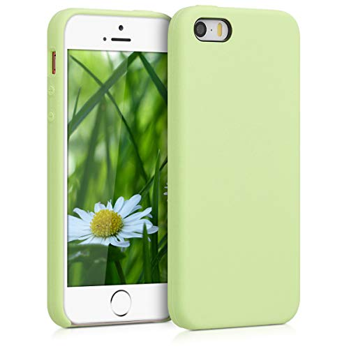 kwmobile Funda Compatible con Apple iPhone SE (1.Gen 2016) / 5 / 5S - Funda Carcasa de TPU para móvil - Cover Trasero en Verde Pistacho