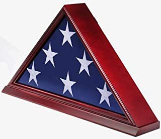DisplayGifts FC06-CH Solid Wood Elegant 5 x 9.5' Flag Display Case for Burial/Funeral/Veteran Flag, Cherry