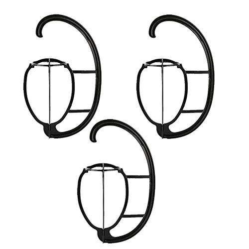 LOOKGOU 吊るして 簡単 お手入れ ウイッグ スタンド ハンガー ロング ウイッグ用 組み立て 簡単 帽子スタンド ウィッグスタンド 3個 (ブラック, 3P)