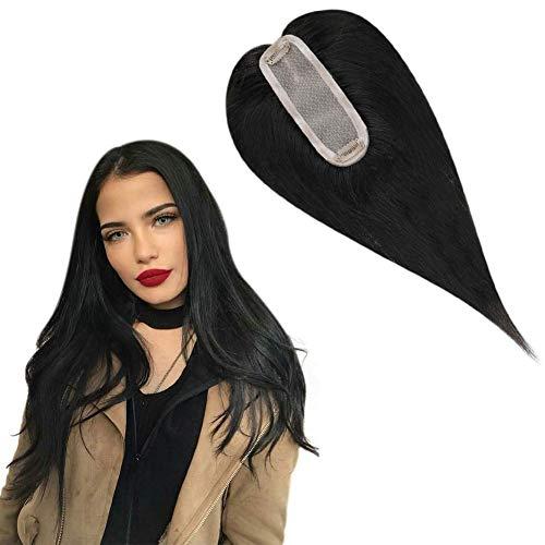 Hetto 12 Pulgada Clip in Top Hair piece Topper #1B Negro 130% Density Invisible Hair Crown Extensions Base de Seda Hecho a Mano Una Pieza Remy Recta para el Pelo Cubierta Superior