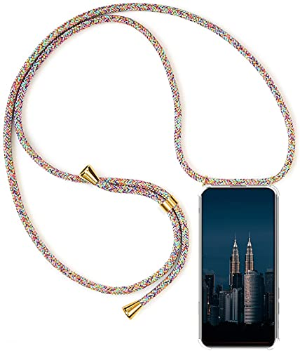 Funda con Cuerda Compatible con Huawei Mate30 Pro 5G , Transparente Silicona Carcasa con Colgante , TPU Gel Slim Case con Ajustable Correa Collar Anti Golpes Protector Case arcoíris