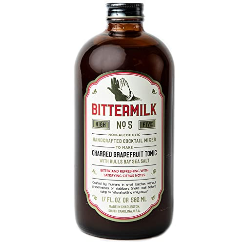 Bittermilk No.5 Charred Grapefruit Tonic with Bulls Bay Sea Salt – All Natural Handcrafted Cocktail Mixer – Gin Mixers, Tonic Mixers - Just Add Vodka, Gin, Rum or Tequila, Makes 17 Cocktails
