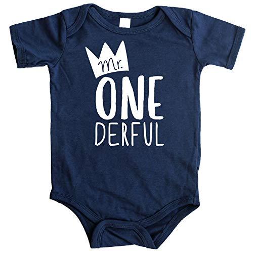 Olive Loves Apple Mr One-Derful Baby Boys 1st Birthday Bodysuit First Birthday Outfit for Boys, Navy Bodysuit, 12-18 short sleeve