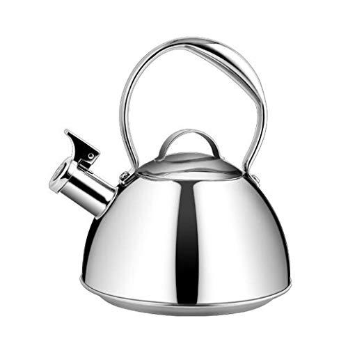 Bouilloire 2.6L Plaque De Cuisson Teakettle 304 en Acier Inoxydable De Grande Capacité Sifflet Induction Cooker Gas Universel 2 Couleur 20 * 25 cm MUMUJIN (Color : Silver)